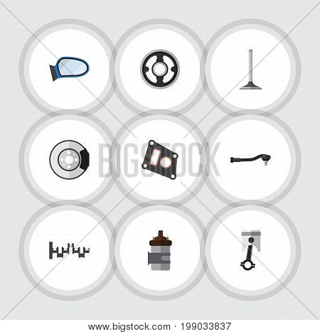 Flat Icon Component Set Of Auto Component, Gasket, Belt And Other Vector Objects