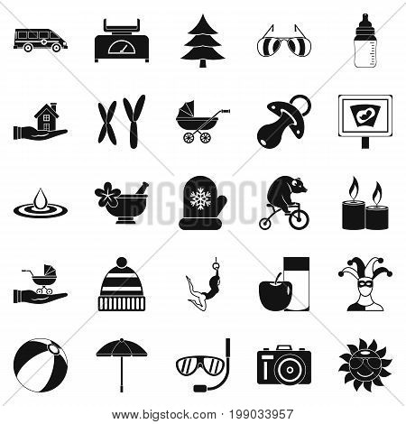 Relaxation icons set. Simple set of 25 relaxation vector icons for web isolated on white background