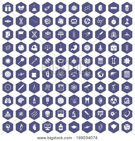 100 science icons set in purple hexagon isolated vector illustration