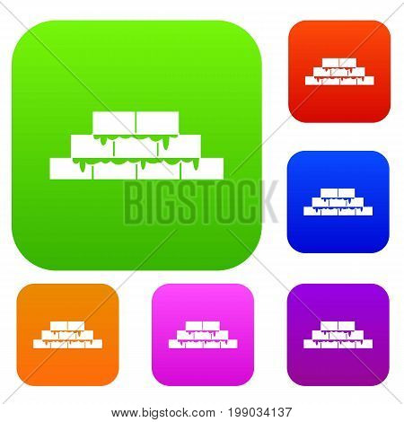 Brickwork set icon in different colors isolated vector illustration. Premium collection