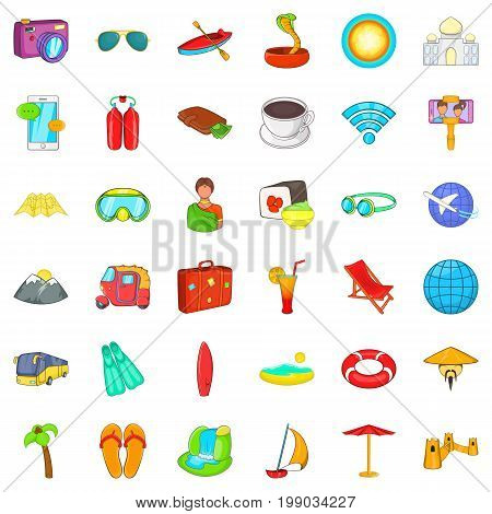 Long travel icons set. Cartoon style of 36 long travel vector icons for web isolated on white background