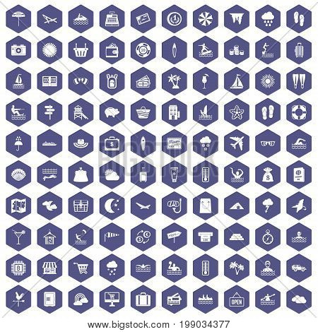 100 seaside resort icons set in purple hexagon isolated vector illustration