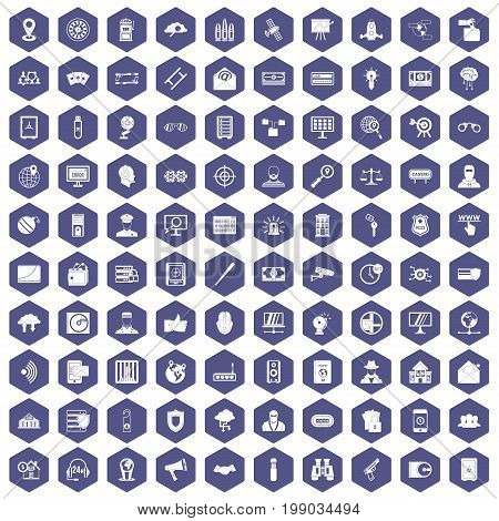 100 security icons set in purple hexagon isolated vector illustration