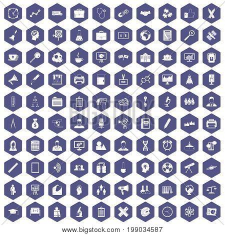 100 seminar icons set in purple hexagon isolated vector illustration