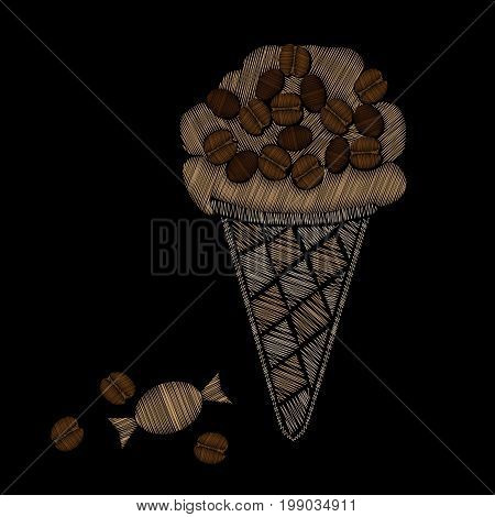 Ice cream with candy and coffee grain embroidery stitches imitation. Fashion embroidery ice cream on black background. Embroidery food vector.