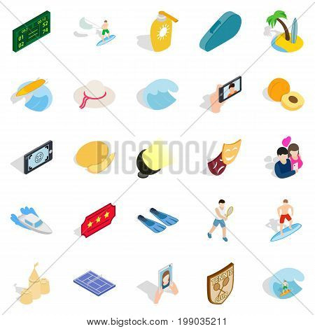 Gladness icons set. Isometric set of 25 gladness vector icons for web isolated on white background
