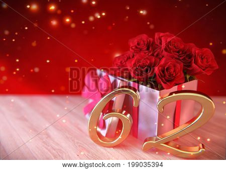 birthday concept with red roses in gift on wooden desk. 3D render - sixty-second. 62nd.