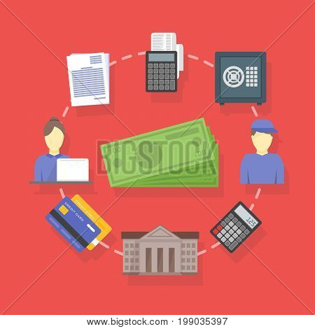 Vector Collection Of Flat And Colorful Business And Finance Concepts Accounting Icons