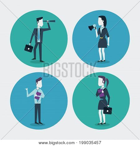 white background with colorful circle frames of businesswoman and businessman with monocular folder megaphone and executive briefcase vector illustration