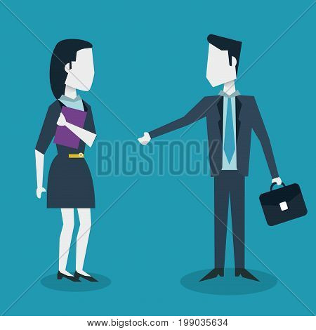colorful background of meeting businesswoman and businessman with executive briefcase vector illustration