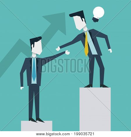 colorful background of business men on the economic status bar vector illustration
