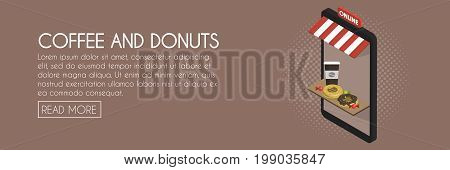 Coffee And Donuts Online Shop Concept. Isometric Phone Storefront Vector Illustration. Web Banner Te