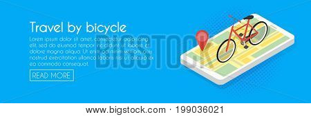 Isometric Illustration Of Phone Map Bicycle. Marker Position