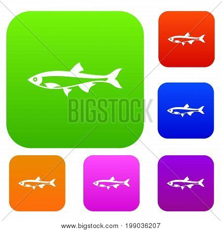 Herring fish set icon in different colors isolated vector illustration. Premium collection