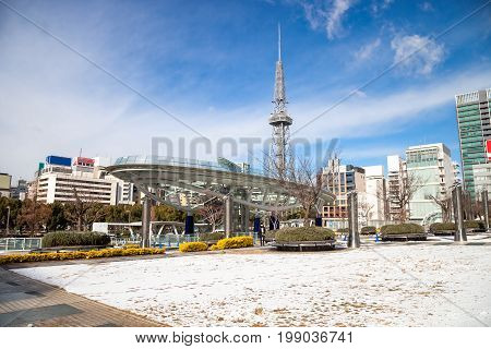 NAGOYA, JAPAN - January 16, 2017: Winter of Oasis 21 and TV Tower in Sakae. Oasis 21 is a modern facility located adjacent to Nagoya TV Tower in Sakae.