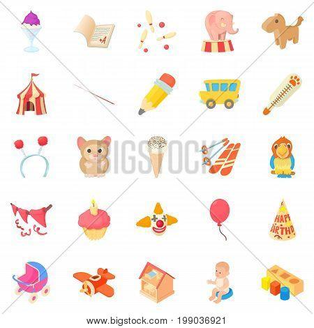 Games for schoolchildren icons set. Cartoon set of 25 games for schoolchildren vector icons for web isolated on white background