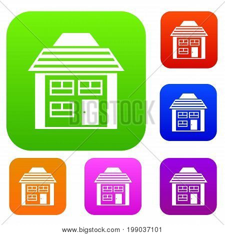 Two-storey house with sloping roof set icon in different colors isolated vector illustration. Premium collection