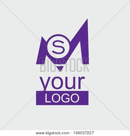 MS Initial logo. Violet corporate logo with small S letter in the circle.