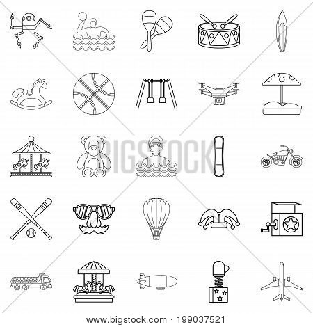School adventures icons set. Outline set of 25 school adventures vector icons for web isolated on white background