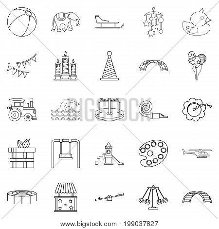 Physical education icons set. Outline set of 25 physical education vector icons for web isolated on white background