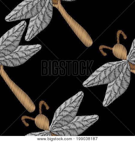 Embroidery stitches imitation seamless pattern with dragon fly. Fashion embroidery insect. Embroidery dragon fly vector.