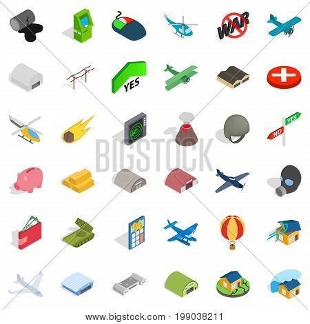 Bad war icons set. Isometric style of 36 bad war vector icons for web isolated on white background