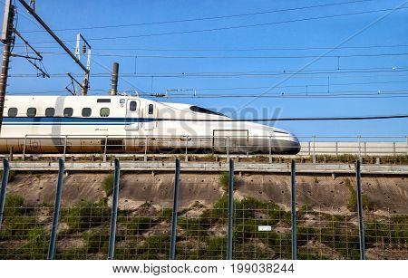 Nagoya JAPAN - May 02, 2016 : A Shinkansen bullet train in Japan on May 02 2016 in Nagoya Japan.
