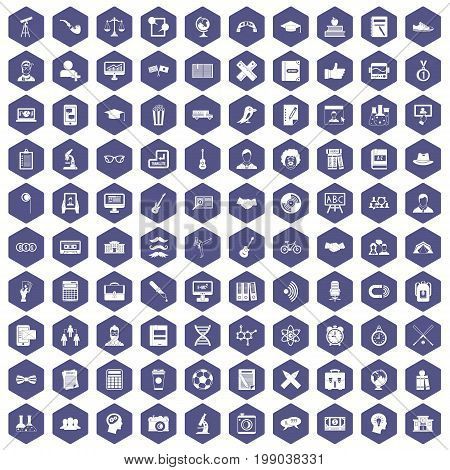100 student icons set in purple hexagon isolated vector illustration
