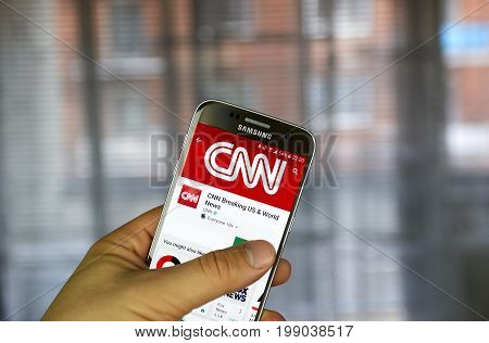 MONTREAL CANADA - MARCH 14 2017 - CNN app on Samsung S7. Cable News Network - CNN is an American basic cable and satellite television news channel owned by the Turner Broadcasting System