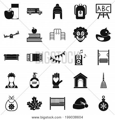 Nursery school icons set. Simple set of 25 nursery school vector icons for web isolated on white background