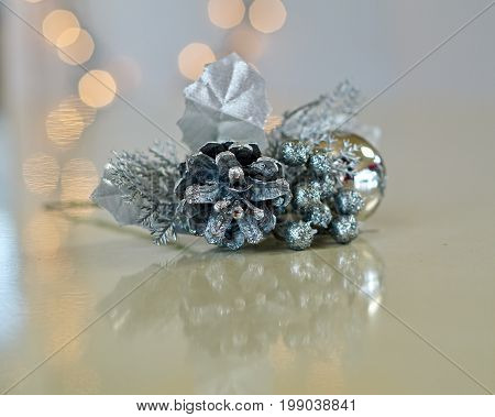 close up of a silver vintage Christmas corsage