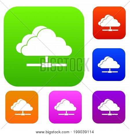Cloud computing connection set icon in different colors isolated vector illustration. Premium collection