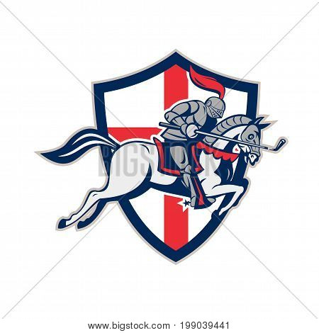 Illustration of an English knight in full armor riding a horse armed with golf club like a lance and England flag in background done in retro style.