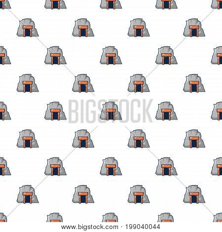 Mine in mountain pattern in cartoon style. Seamless pattern vector illustration