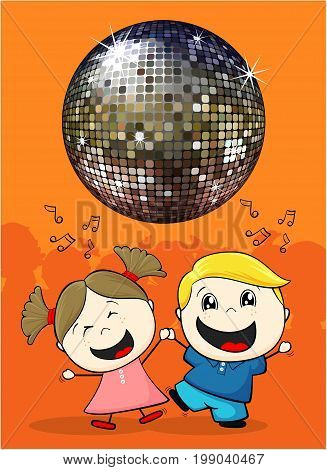cartoon illustration of cute little couple dancing with disco ball on top