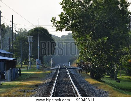 Train track through a small town early on a hot humid morning.