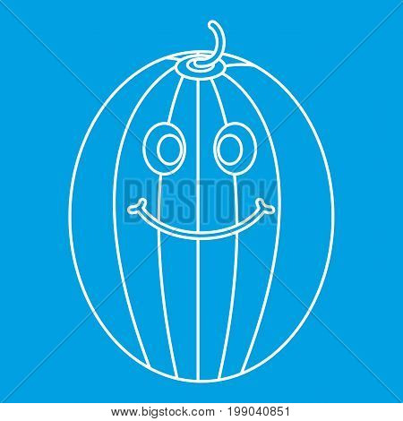Ripe smiling melon icon blue outline style isolated vector illustration. Thin line sign