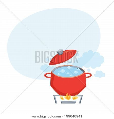 Boil water in pot on stove. Cooking process vector illustration. Kitchenware and cooking utensils isolated on white.