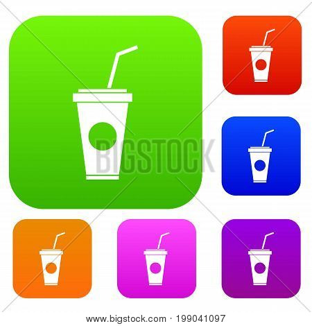 Paper cup with straw set icon in different colors isolated vector illustration. Premium collection