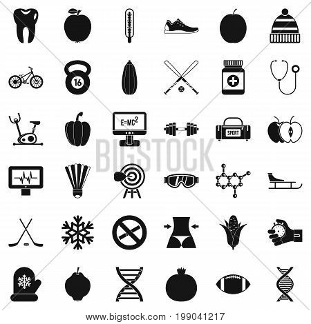 Wellness bicycle icons set. Simple style of 36 wellness bicycle vector icons for web isolated on white background