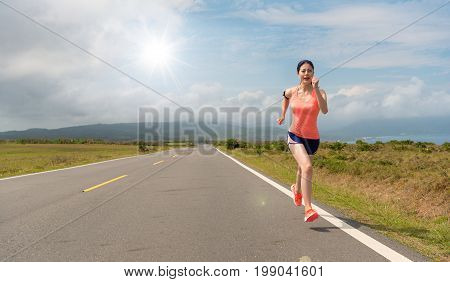 Woman Happy Running In The Asphalt Road Movement