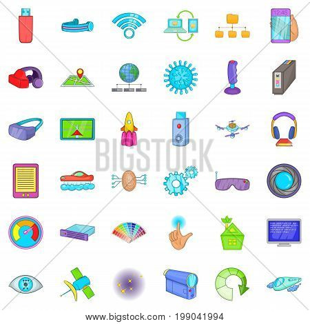 Broadcasting technology icons set. Cartoon style of 36 broadcasting technology vector icons for web isolated on white background