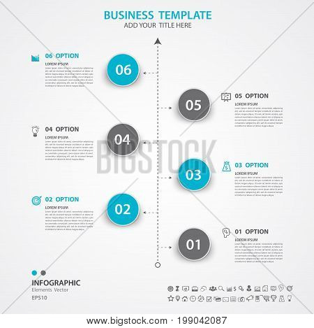 Abstract elements of circle diagram with 6 steps options Vector illustration web design presentation diagram infomations Process chart