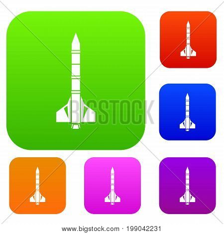 Atomic rocket set icon in different colors isolated vector illustration. Premium collection