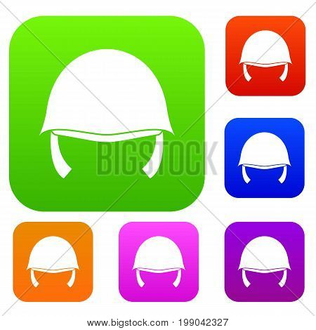 Military helmet set icon in different colors isolated vector illustration. Premium collection