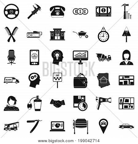 Taxi work icons set. Simple style of 36 taxi work vector icons for web isolated on white background