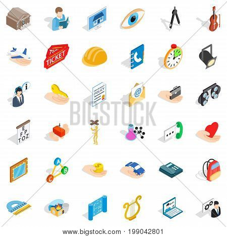 One work icons set. Isometric style of 36 one work vector icons for web isolated on white background