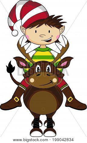 Girl Elf On Reindeer