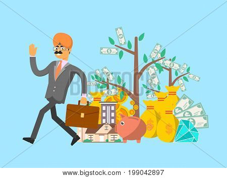 Smiling indian businessman with suitcase in business suit and turban vector illustration. Smart investment opportunity in securities, real estate or bank deposit. Financial investment and savings.