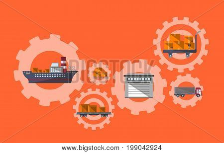 International postage and logistic management. Commercial road, marine and railway transportation banner. Freight shipping and cargo delivery, commercial postal service vector illustration